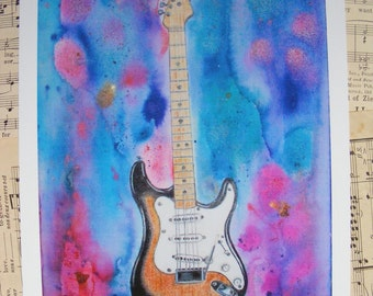 Guitar Art, Guitar Watercolor, Guitar Painting, Fender Stratocaster, Stratocaster Art, Stratocaster Guitar, Guy Gift, Man Cave, Music Room