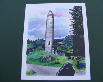 Ireland Print Series, Glendalough, St Kevins, Watercolor Painting, Fine Art Print, Illustration, Monastery, Tombstones, Landscape, Graveyard