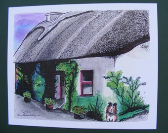 Ireland Print Series, Rathbaun Farm, Watercolor Illustration, Painting, Fine Art Print, Irish Cottage, Farm, Landscape, Dog