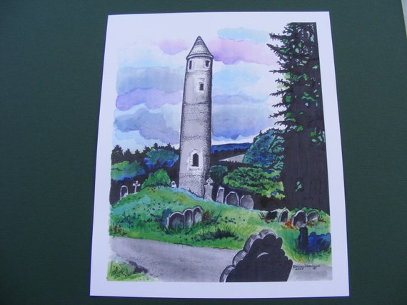 Ireland Print Series, Glendalough, St Kevins, Watercolor Painting, Fine Art Print, Illustration, Monastery, Tombstones, Landscape, Graveyard