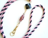 Hand Braided and Beaded id Badge Lanyard - Sophisticated Lady
