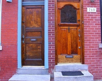Door Pair Photograph Odd Couple Philadelphia Print Architecture Street Brick Doorways Blue Red Wood