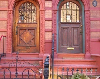 Red Doors Architecture in Fairmount Art Museum Philadelphia Neighborhood Brick Wood Stone Photograph