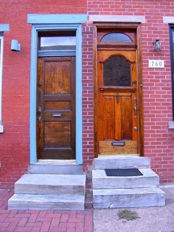 Door Pair Photograph Odd Couple Philadelphia Print Architecture Street Brick Doorways Blue Red Wood