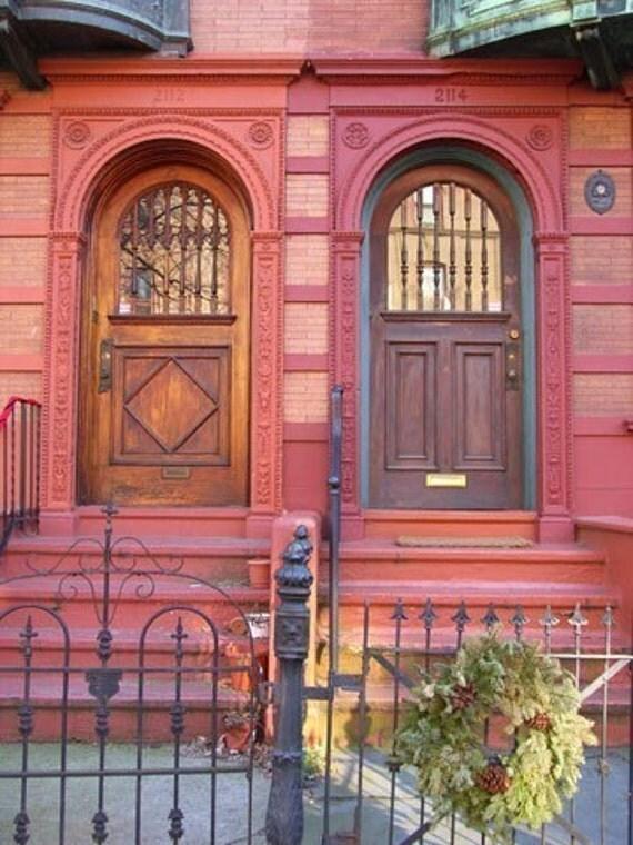 Red Doors Architecture in Fairmount Art Museum Philadelphia Neighborhood Brick Wood Stone Photograph