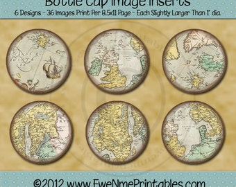Old Maps Bottle Cap Image Inserts - Printable 1 inch round graphics for bottlecaps - PDF and/or JPG FIle - 4x6 jpg file also included