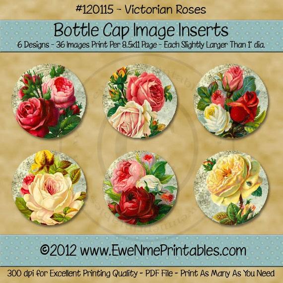 Instant Download - Printable Bottle Cap Images - Victorian Roses - Digital PDF and/or JPG File