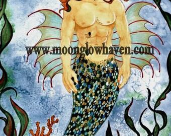 Under the Sea Original Watercolor Painting, Merman Fantasy Artwork, Neptune Mythical Creature, Mixed Media Male Art, Gay Male Art, Gift Idea
