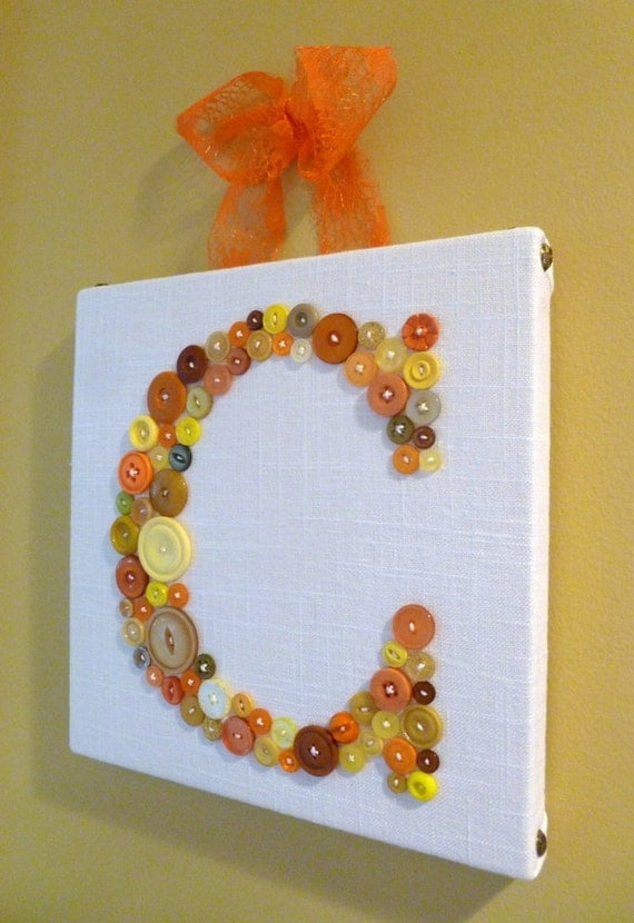 READY TO SHIP Button Letter 'C' Wall Art on 10''x10'' Canvas, Children Wall Art, Baby Girl or Baby Boy Nursery Art Canvas Now 20% Off!