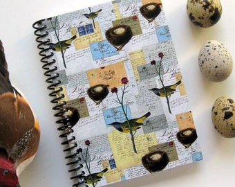 Birds and Nests Spiral Notebook, Easter Gift Under 15, Back to School Supplies Blank Pocket A6 Sketchbook Spiral Bound Writing Journal Diary