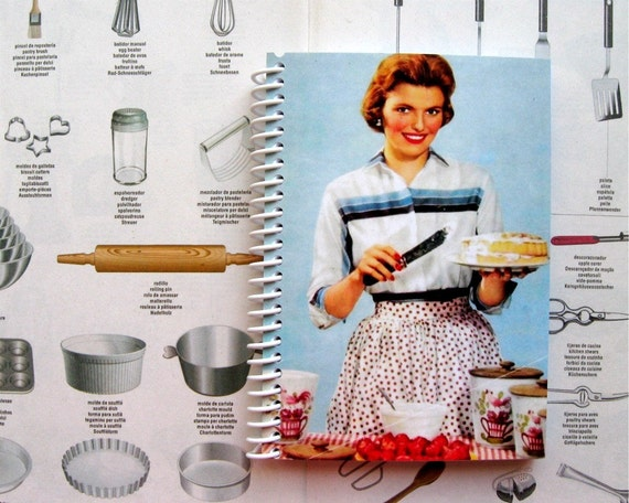 Making a Cake, Blank Recipe Book, Spiral Bound Journal, Pocket Notebook, Writing Journal, Blank Sketchbook, Back to School, 50s Housewife