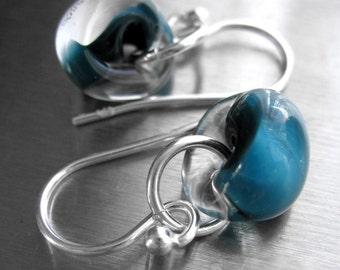 Dark Aqua Glass Drop Earrings - Petite Clear Glass Earrings - Peacock Blue, Sterling Silver, Aqua Blue Glass Beads, Nautical, Modern Jewelry