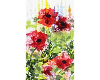 Wild Red Poppies in Watercolors, Small Original Art, 8 x 4 inches, Poppy Flowers, Poppy Theme, Collage Wall Art, Poppy Art Gift
