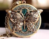 Locket, Blue Butterfly Locket, Prom Necklace, Enameled Pendant, Vintage Locket, Picture Locket, Blue Locket