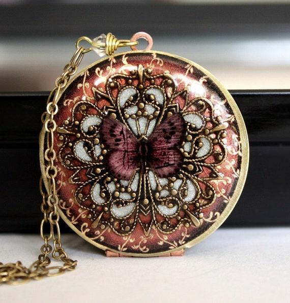 Locket, Weddings, Wedding Necklace, Bridal Necklace, Bridesmaid Necklace, Vintage Insipired Wedding, Image Locket, Butterfly Locket