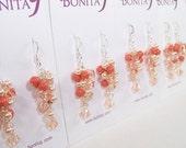 Peach Coral Bridesmaid Earrings, Orange Chandelier Earrings, Peach Bridal Earrings, Wedding Jewelry, Peach Weddings, tangerine, salmon,