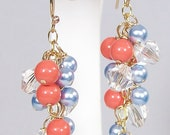 Coral, aqua Blue Pearl & Clear Crystals Chandelier Cluster Earrings, Salmon, Peach, Pumpkin, Bridesmaids, Tangerine, shrimp, Poppy, orange