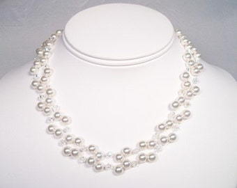 Double Strand White Pearl & Clear Crystal Illusion Wedding Necklace, floating bridal necklace, diamond white, soft white, pure snow, twinkle
