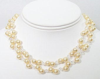 Champagne & Crystal Wedding Necklace, 2 Strand Illusion Pearls, Golden Bridal, Bridesmaid, light gold, butter, sunbeam, sunshine, buttercup