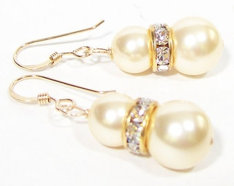 Champagne Rhinestone Bridal Earrings, Light Gold Bridesmaids, Gold Weddings, Sparkly Pearl, 14k gold, light gold pearls, butterscotch,