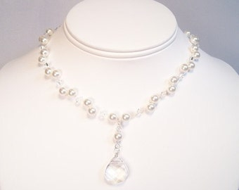 Crystal & White Illusion Back Dangle Bridal Necklace, Pearl Pendant Floating Wedding Necklace, Clear teardrop, diamond white, long open back