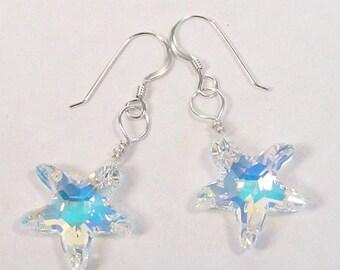 Starfish Earrings, Iridescent Starfish Jewelry, Beach Bridesmaids, Beach Weddings, Starfish jewelry, Beach jewelry, Sparkling Rainbow