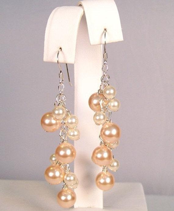Peach & Cream Bridesmaids Earrings, Pearl Cascade Chandelier, blush Bridesmaids Jewelry, Peach Weddings, Blush Wedding Jewelry