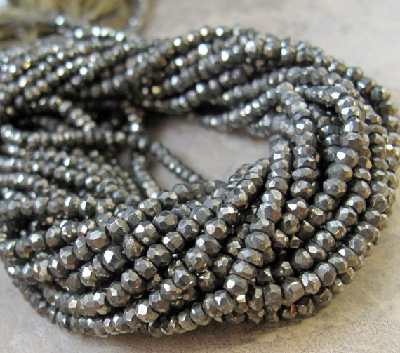 Natural Pyrite Beads, Small 3.5-4mm Rondelles, 13 Inch Strand, Fools Gold Rondelle Beads, 130+ Stones for Making Jewelry (R-Py1)