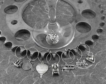 Travel Wine Charms Large Set - Exploration Is of the Essence by COGnitive Creations
