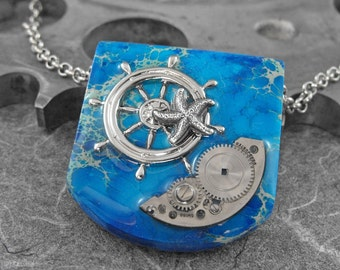 Steampunk Sailor Blue Jasper Stone Pendant - Sailing Away From the Safe Harbor by COGnitive Creations
