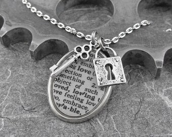 Love Definition Lock and Key Necklace - Opening the Silver Gates of Happiness by COGnitive Creations