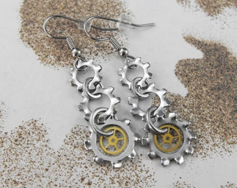 Steampunk Long Mechanical Dangle Earrings - Screech and Mechanical Uproar by COGnitive Creations