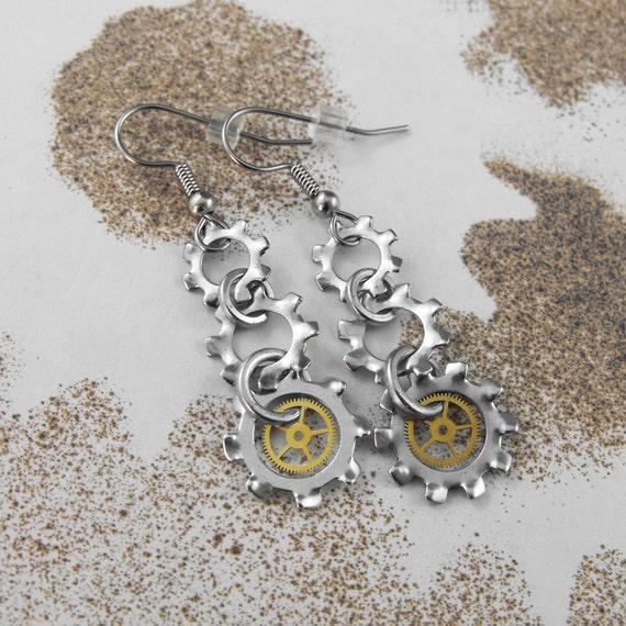 Steampunk Long Mechanical Dangle Earrings - Screech and Mechanical Uproar by COGnitive Creations
