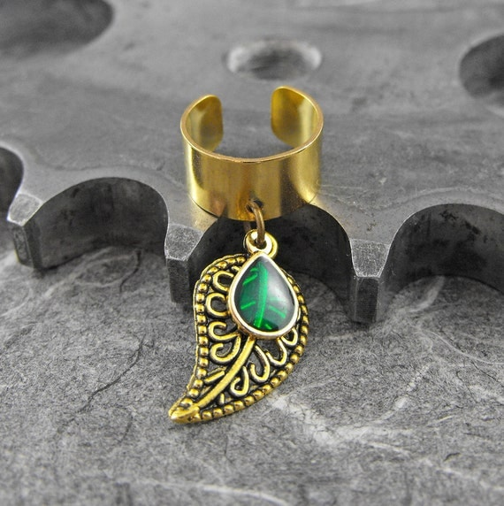 Emerald Green on Gold Leaf Ear Cuff - Green Tear of Nature by COGnitive Creations