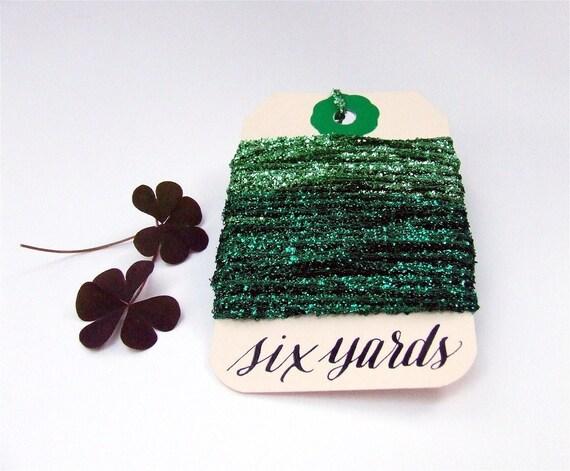 Emerald Green Tinsel String, Shiny Gift Wrapping, 6 yards Metallic Ribbon String, Shimmery Green Glitter