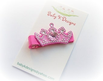 Newborn Girl Bow Hair Clip - Infant Hairbow. Baby Bow. Crown Princess Pink Tiara Toddler Birhtday Barrette / Bald Baby K Designs Snap Clip