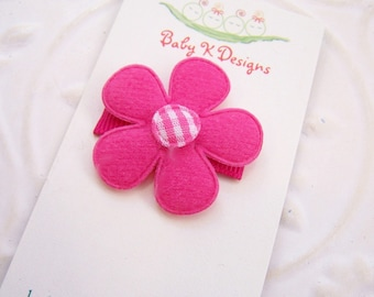 Girls Hair Clips / Infant Clip SALE Hot Pink and White Flower Infant / Baby Hair Clip / Baby Bow NINE Colors to Pick from