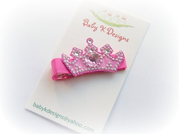 Baby K Designs Newborn Girls Bow Hair Clip /  If The Crown Fits Princess Pink Tiara Toddler Birhtday Barrette Pink Bow / Bald Baby Snap Clip