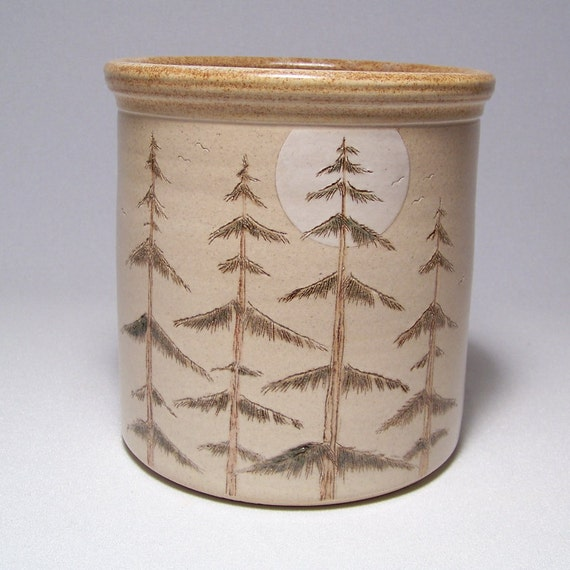 Pine Trees by Moonlight Pottery Utensil Holder Limited Series 18 (wide)