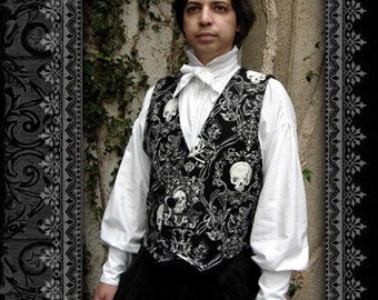 Double Breasted Skull Waistcoat Vest by Kambriel - Brand New and Ready to Ship!