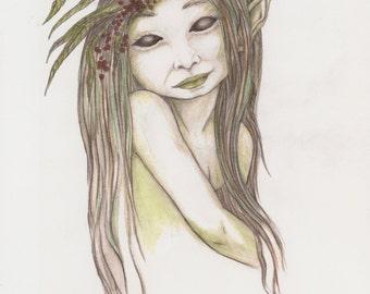 Faerie Artwork Print, Faery Illustration, Spiritual Healing,  Sidhe of the Woodland Realms, Colored Pencil Drawing, Original Prints