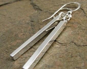 Long Silver Earrings, Modern Contemporary Sterling Silver Earrings, Square Silver Bar Earrings, Silver Dangle Earrings, Sterling Earrings