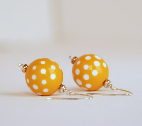 Yellow Earrings, Yellow and White, Polka Dot Earrings, Summer Jewerly, Lucite Earrings, Retro Earrings