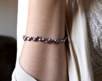 Purple Pearl Bracelet . Freshwater Pearl Bridal Bracelet . Purple Wedding Jewelry . June Birthstone Bracelet - Lila Collection
