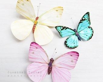 Butterfly photo, pastel pink, yellow, lemon, blue, three butterflies, white, nursery art, childs room, kids wall art - She wishes on wings
