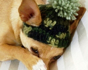 Dog Hat Camo, Camouflage Hat, crocheted, Army green