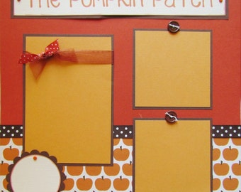 12x12 Premade Scrapbook Pages  -- THE PUMPKIN PATCH -- FaLL AuTuMn layout for boy, girl or family, picking pumpkins
