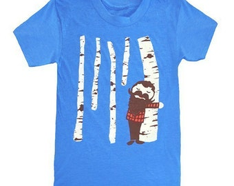 Tree Hugger - Womens Girls T-shirt Birch Wood Forest Nature Lumberjack Mustache Beard Cute Tee Shirt Valentines Blue Tshirt