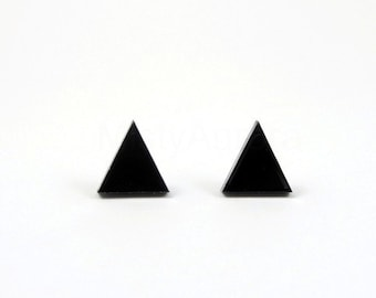 Triangle Stud Earrings, Minimal Earrings, Black Earrings, Geometric Jewelry, Black Pyramid, Tiny Earring Studs, Unisex Earrings (E117)