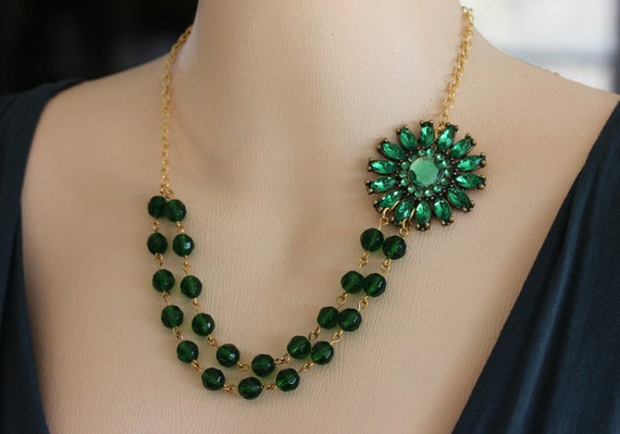 Emerald Green Necklace Emerald Wedding Necklace  Emerald Green Bridesmaid Necklace Double Strand Green Necklace